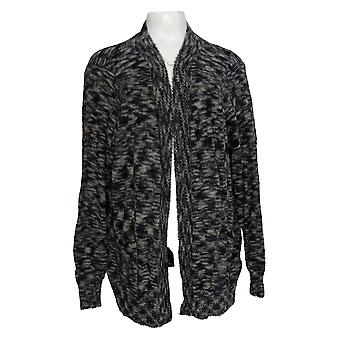 LOGO par Lori Goldstein Women's Sweater Eyelash Cardigan Black A385061