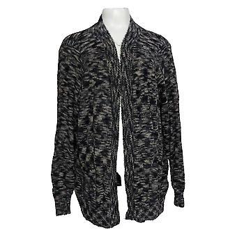 LOGO by Lori Goldstein Women's Sweater Eyelash Cardigan Black A385061