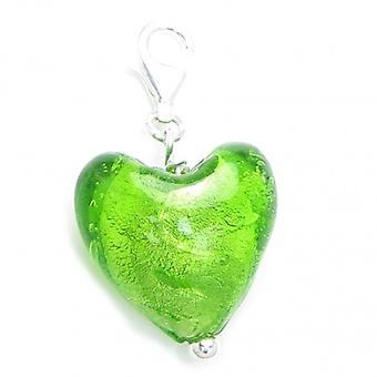 Groene Murano Sterling Silver Charm .925 X 1 Clip Links Charms - 6708