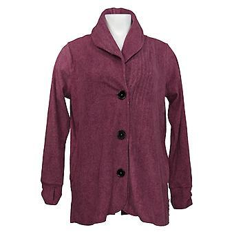 Cuddl Duds Women's Sweater Fleecewear Button Front Cardi Purple A369667