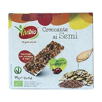 Crunchy with organic seeds 3 bars of 25g