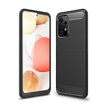 Samsung Galaxy A52 5G Kohlefaser Textur Shell - Schwarz