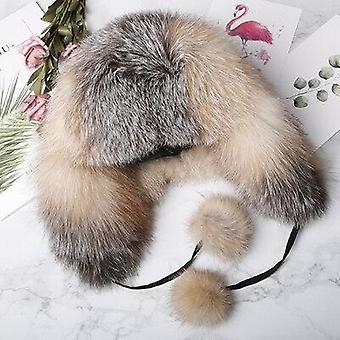 Karvahattu, Luonnollinen Pesukarhu Kettu Turkis Ushanka Hatut Talvi Paksut Lämpimät Korvat