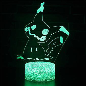 3D Illusion Lamp 7 Farver Optisk Skift Touch Light USB og fjernbetjening Art Deco Lav en romantisk atmosfære Jul Valentinsdag Gave-pokémon # 146