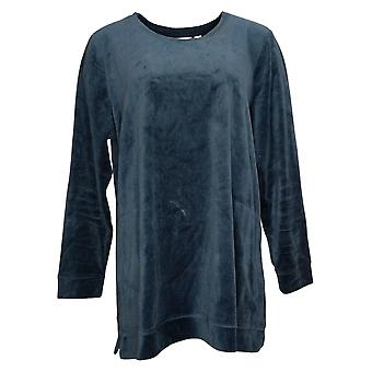 Denim & Co. Women's Top Long Sleeve Tunic With Pockets Blue A390299