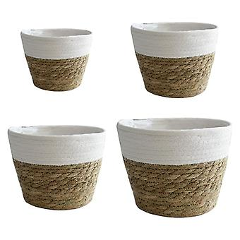 Scandinavian style inspired eco friendly handmade straw storage and decor baskets