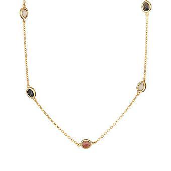 Röd kvarts-monterad gyllene mässing halsband - Sybille -apos;