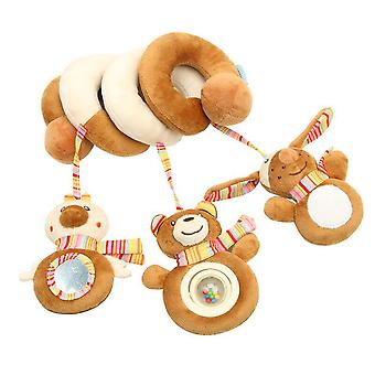 Bear Stroller Hanging Toy Cartoon Activity Spiral With Music Box Mirror Bell Bb Device Pram Crib Toy For Infant