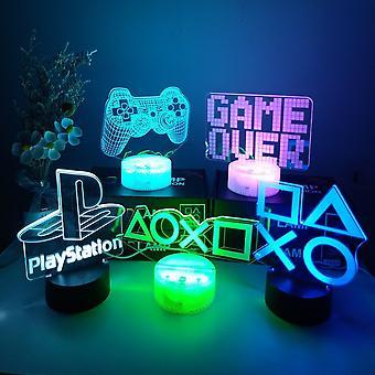 3D Night Lamp Gaming Room Desk Setup Lighting Decor on the table PS Gamepad Shape Game Console Icon Logo Sensor Light Bedside Gift