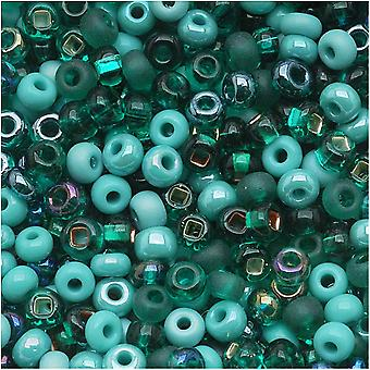 Czech Glass Seed Beads, 6/0 Round, 1 Ounce, Turquoise Fetish Blue Green Mix