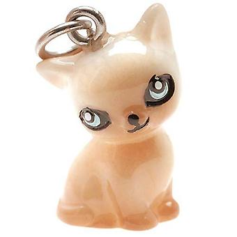 Hand Painted 3-D Seated Siamese Kitty Cat Jewelry Charm Lightweight 21mm (1)