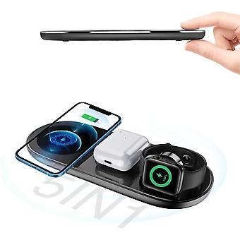 Indukčná nabíjačka, bezdrôtová nabíjačka 5 v 1 Qi 15W Max Indukčné nabíjačky Telefóny Univerzálna kolíska bezdrôtovej nabíjačky pre iPhone 12 11, Samsung Galaxy, Apple Watch, Samsung Watch, AirPods (čierna)