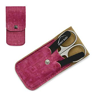 Mont Bleu 3-piece Manicure Set in Leatherette Case, Pink - Black
