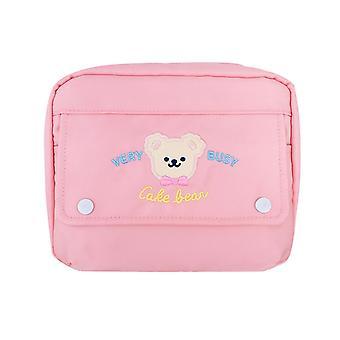 1pc Korea Fashion Bear kosmetiske tilfælde Cute Student Blyant Taske Kapacitet Kosmetiske tasker (pink)