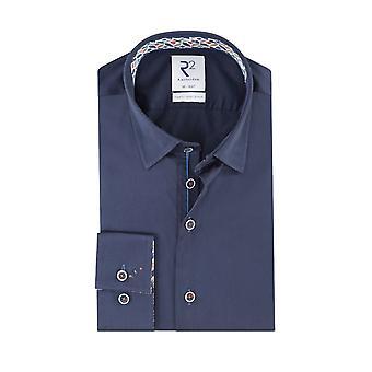 R2 Hidden Button Down Collar Long Sleeved Shirt Navy