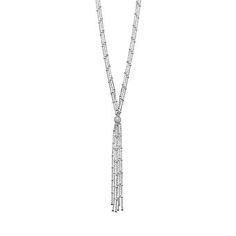 925 Sterling Silver Rhodium Plated Satellite Chain Bolo Necklace 18 Inch 3 Strand Type Closure 3 Inch Dr Jewelry Gifts f