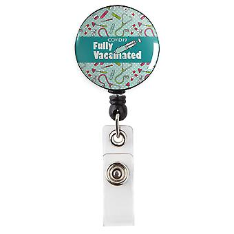 Covid 19 Fully Vaccinated Medical Field Teal Retractable Badge Reel