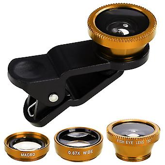 Universal Clip Lens 3 In 1 Fish Eye Wide Angle Camera Lens Kit Macro Lentes For Smart Phones(Gold)