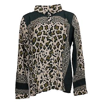 Tolani Collection Women's Top Button Front Printed Brown A389942