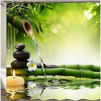 Waterdichte douche gordijn met haken groene scène badkamer gordijnen voor home decoraties (150 * 180cm)