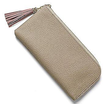 Fashion tassel multi-card position Japanese leather ladies wallet(Light Yellow)