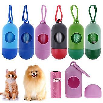 (blu) Nuovo distributore di buste per cacca per cani a forma di pillola e Trasportino rifiuti per animali domestici