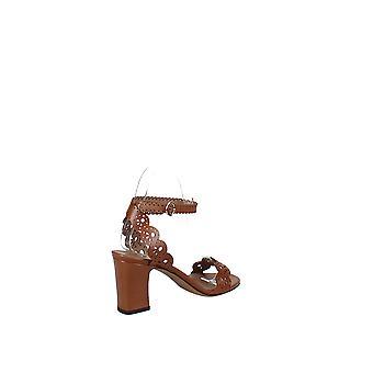 Tabitha Simmons   Bobbin Perforated Lace Slingback Block-Heel Sandals