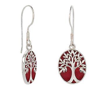 ADEN Red Coral 925 Sterling Silver Symbol Tree of Life Oorbellen (id 4578)