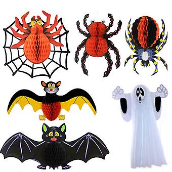 Halloween Hanging Decorations Bat Ghost Spider Pumpkin Honeycomb Pendant Ornaments