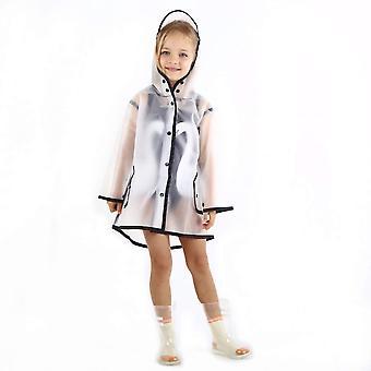 Дети Прозрачный кнопка плащ, дети с капюшоном дождь куртка, дождь износа