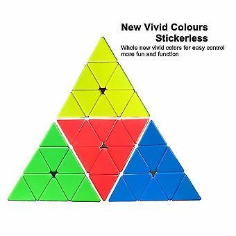 Venalisa Pyramid Cube Stickerless Speed Cube 3x3x3 Pyraminx Rubix Cube Triangle Magic Cube Puzzle Toys Dt6108