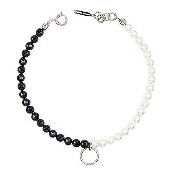 Hip Hop Justine Clenquet New Black And White Hit Color Pearl Pendant Necklace Choker Clavicle Chain Female Fashion Jewelry