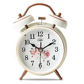 Silent Fashion Small Alarm Clock, Lazy Clock Metal Student Bedside Alarm Clock, Cartoon With Night Lightwhite Gold-4