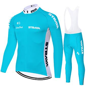 Strava Men's Long Sleeve Mtb Jersey Road Bike Suspender Pants Gel Pro Cycling Clothing Set - Blue