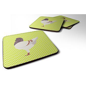 Set of 4 German Modena Pigeon Green Foam Coasters Set of 4