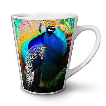 Colorful Peacock NEW White Tea Coffee Ceramic Latte Mug 12 oz | Wellcoda