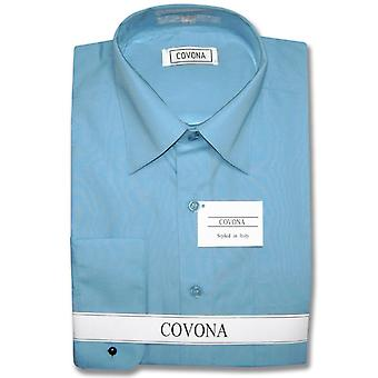Men's Solid Dress Shirt w/ Convertible Cuffs