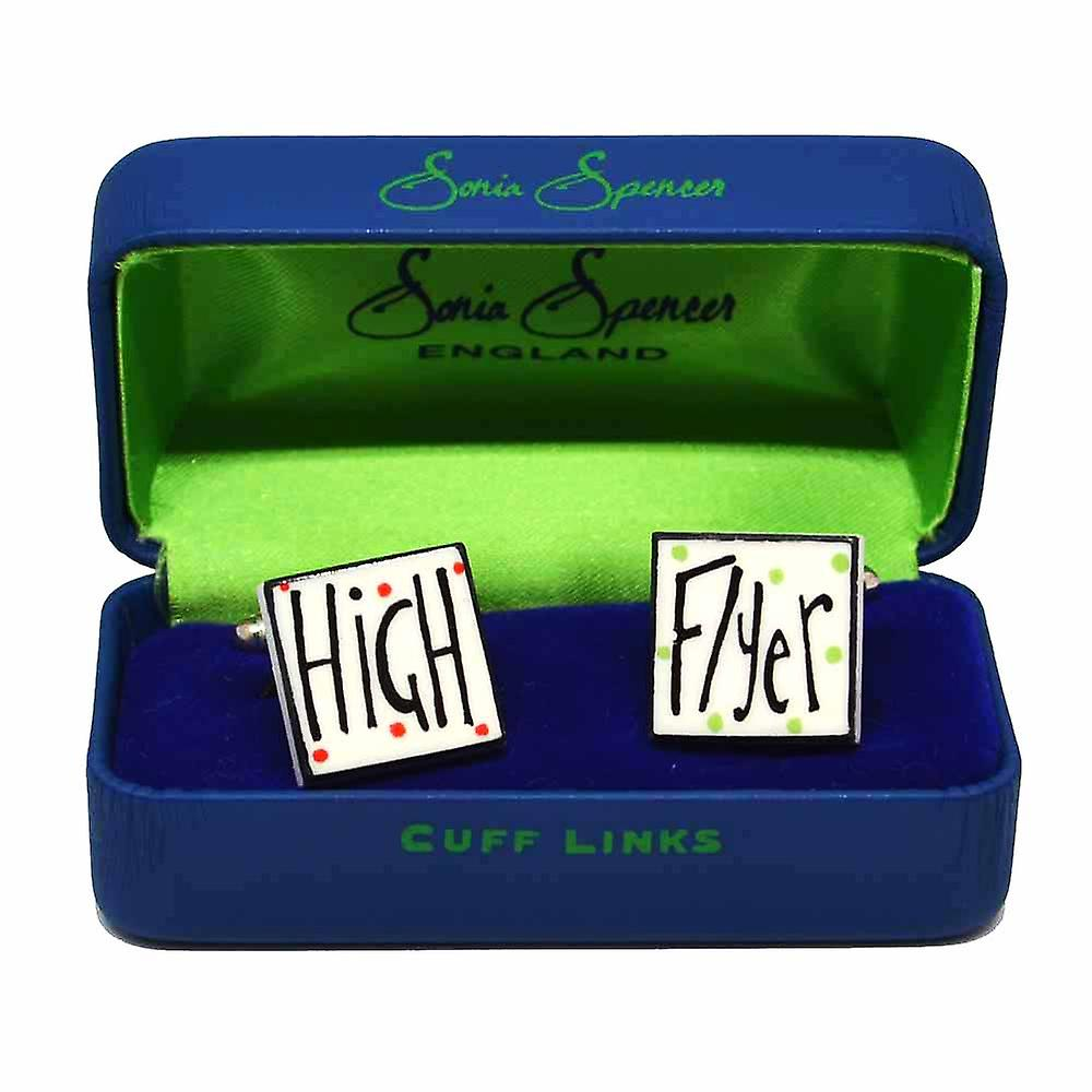 High Flyer Cufflinks by Sonia Spencer, in Presentation Gift Box. Hand painted