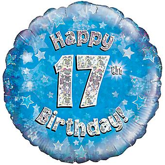 Октри 18-дюймовый счастливым 17 день рождения синий голографической шар