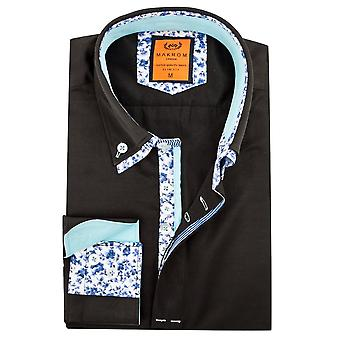 Oscar Banks Cotton Double Collar Floral Trim Mens Shirt
