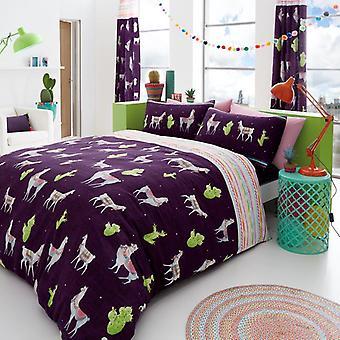 Llama dyr 3 stk Quilt dynebetræk trykt blomstret sengetøj sæt