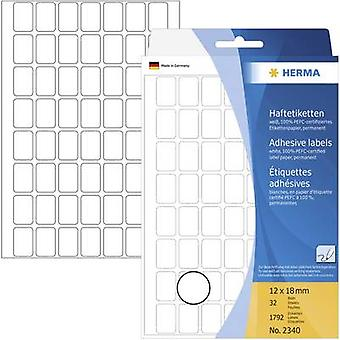 Herma 2340 Labels 12 x 18 mm Paper White 1792 pc(s) Permanent All-purpose labels Hand writing 32 Sheet 111 x 170 mm