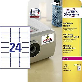 Avery-Zweckform L6141-20 Labels 63.5 x 33.9 mm Polyester film White 480 pc(s) Permanent Adhesive labels (extra strong), All-purpose labels Laser, Copier 20