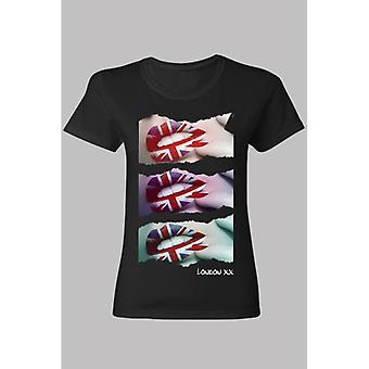 Union Jack käyttää Union Jack huulet laiha naisten t-paita musta