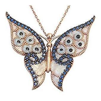 Dunkel blauer Emaille Schmetterling Halskette