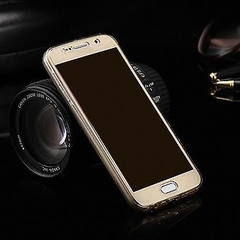 Gevaldekking van het kristal voor Samsung Galaxy E5 gouden frame volledige body