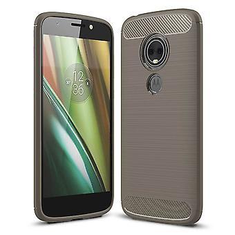 Motorola Moto E5 plus TPU asia hiilikuitu optiikka harjattu suojaa kansi harmaa