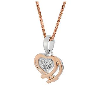 Orphelia Silver 925 Pendant with Chain Heart Shape Rose Gold Zirconium