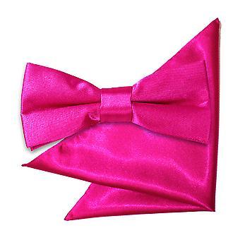 Hete roze platte satijnen strikje & zak plein voor jongens instellen