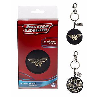 Metal de oro negro del logo Liga de la justicia de Wonder Woman de patrocinadores clave, incluyendo mini mosquetón.